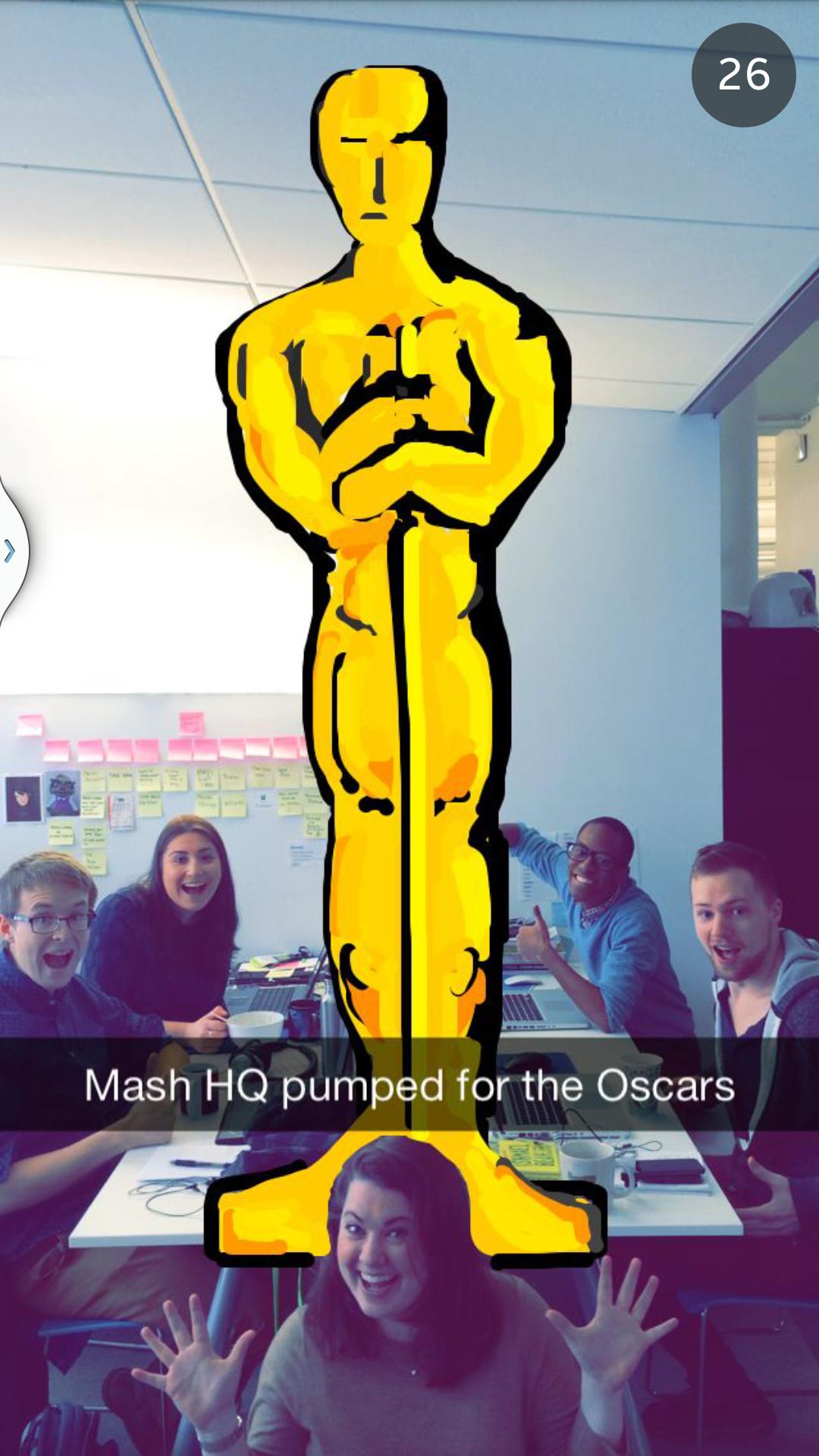 Mashable cubre los Oscars por Snapchat