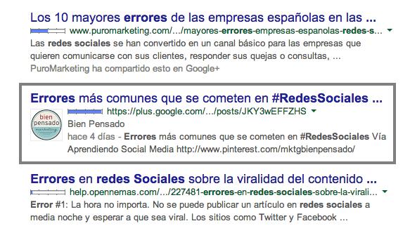 Errores redes sociales pagina Google