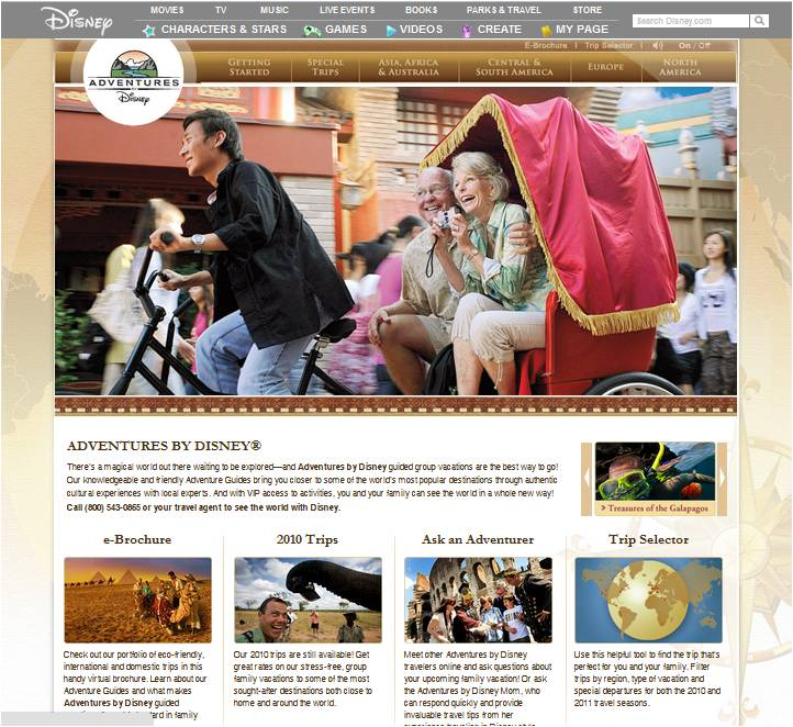 Disney Adventures webpage