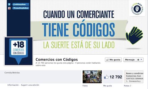 Página de Facebook Comercios con Códigos para motivar a los minoristas a recibir el apoyo de su comunidad por ser puntos de venta responsables.
