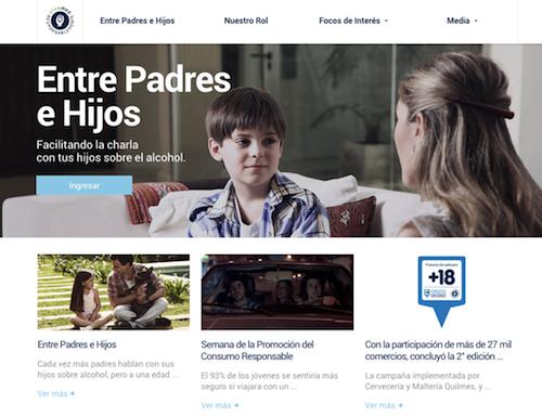 Página web vivamosresponsablemente.com para educar a padres e hijos en el consumo de alcohol