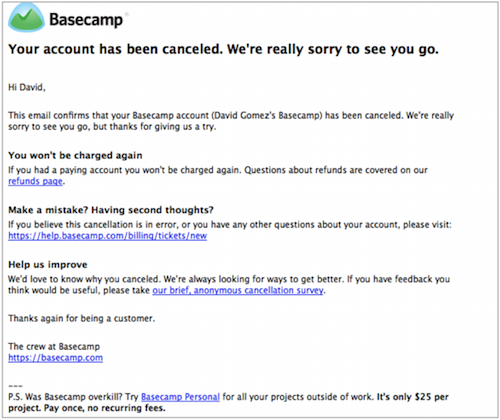Basecamp Account Cancelation