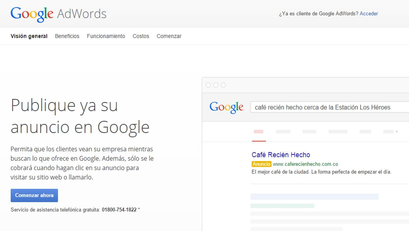 Ingreso plataforma Google Adwords