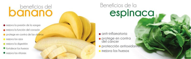 Beneficios del banano y la espinaca