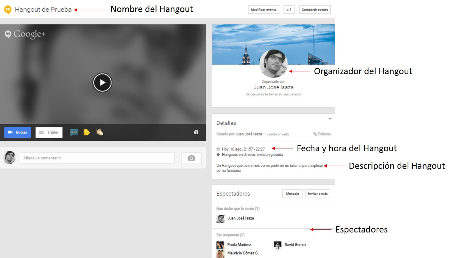 Creación evento en Google+