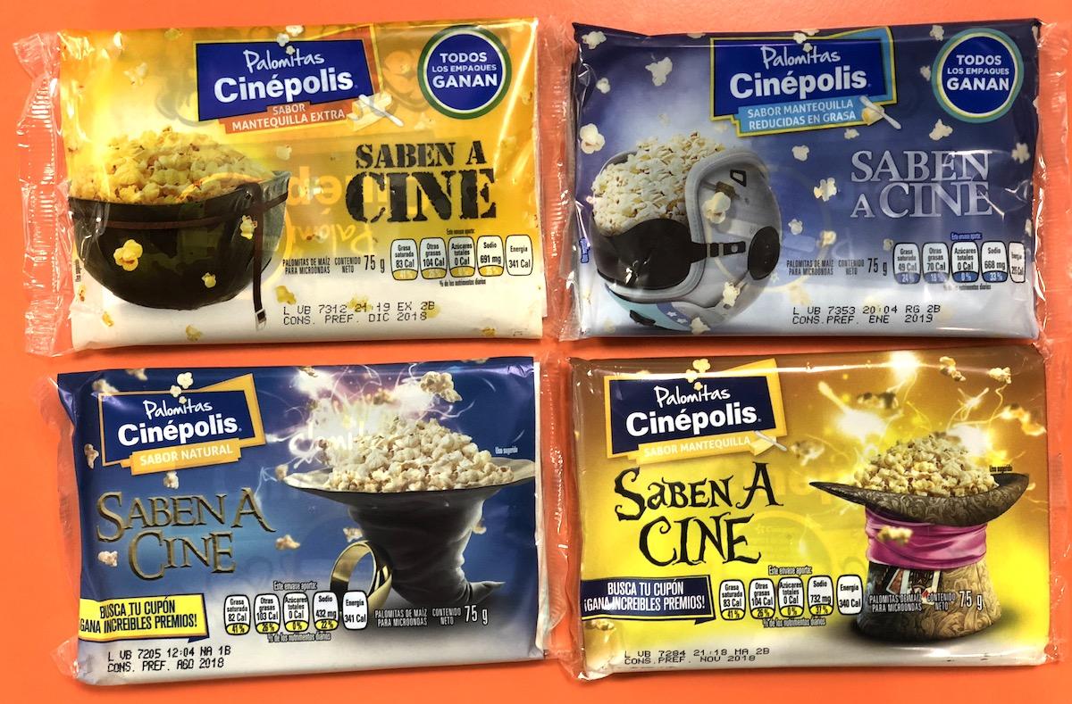 Palomitas Cinepolis varios sabores