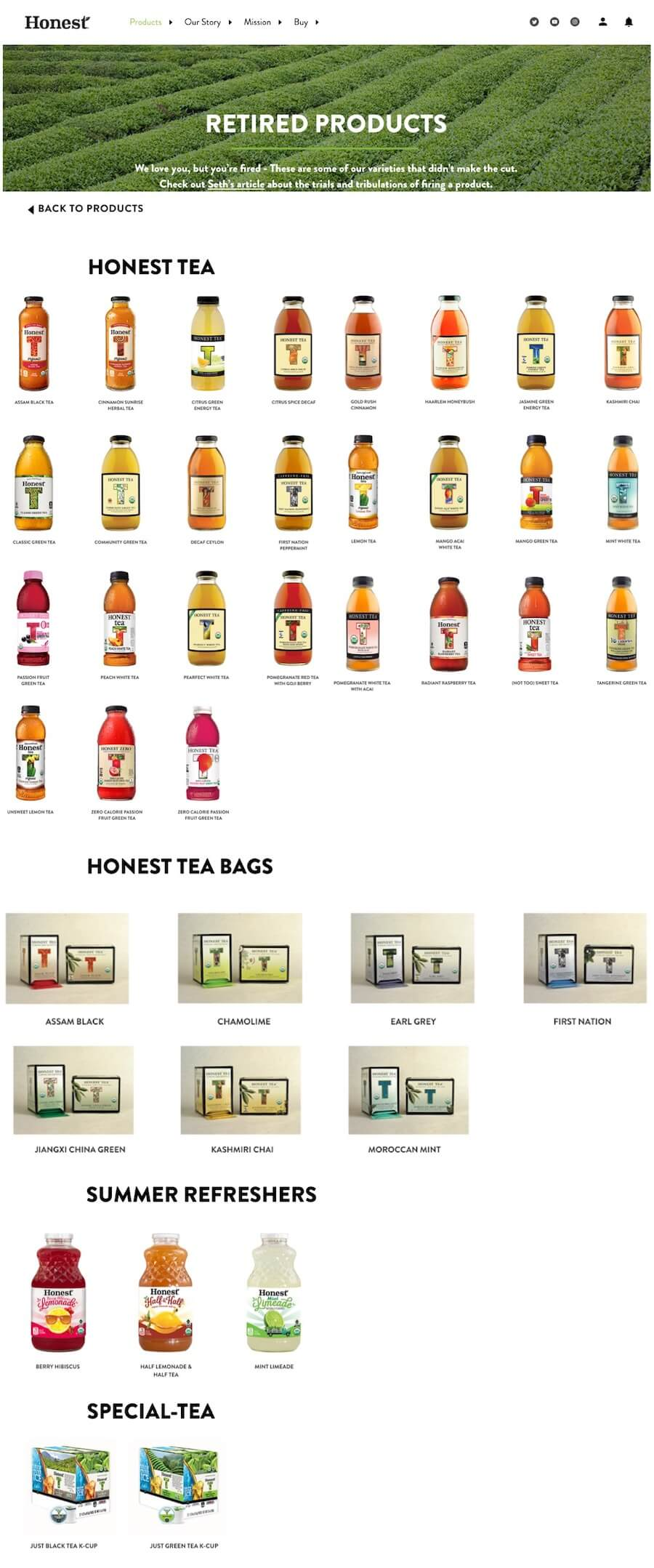 Honest Tea Retired Products