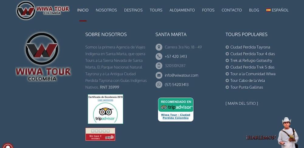 Wiwa Tour Footer website
