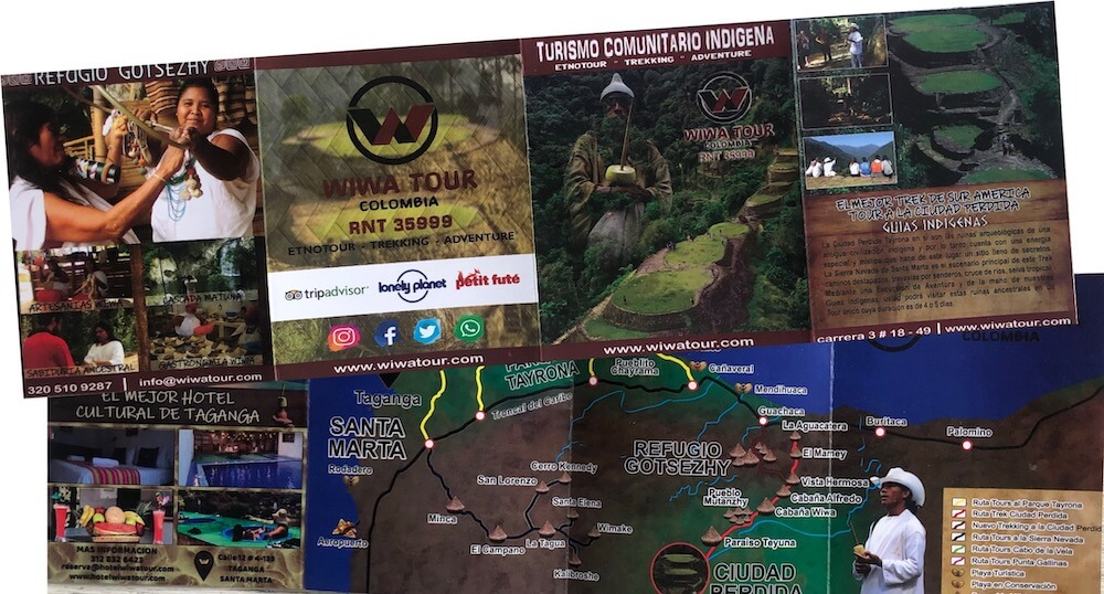 Wiwa Tour Sierra Nevada mapa plegable