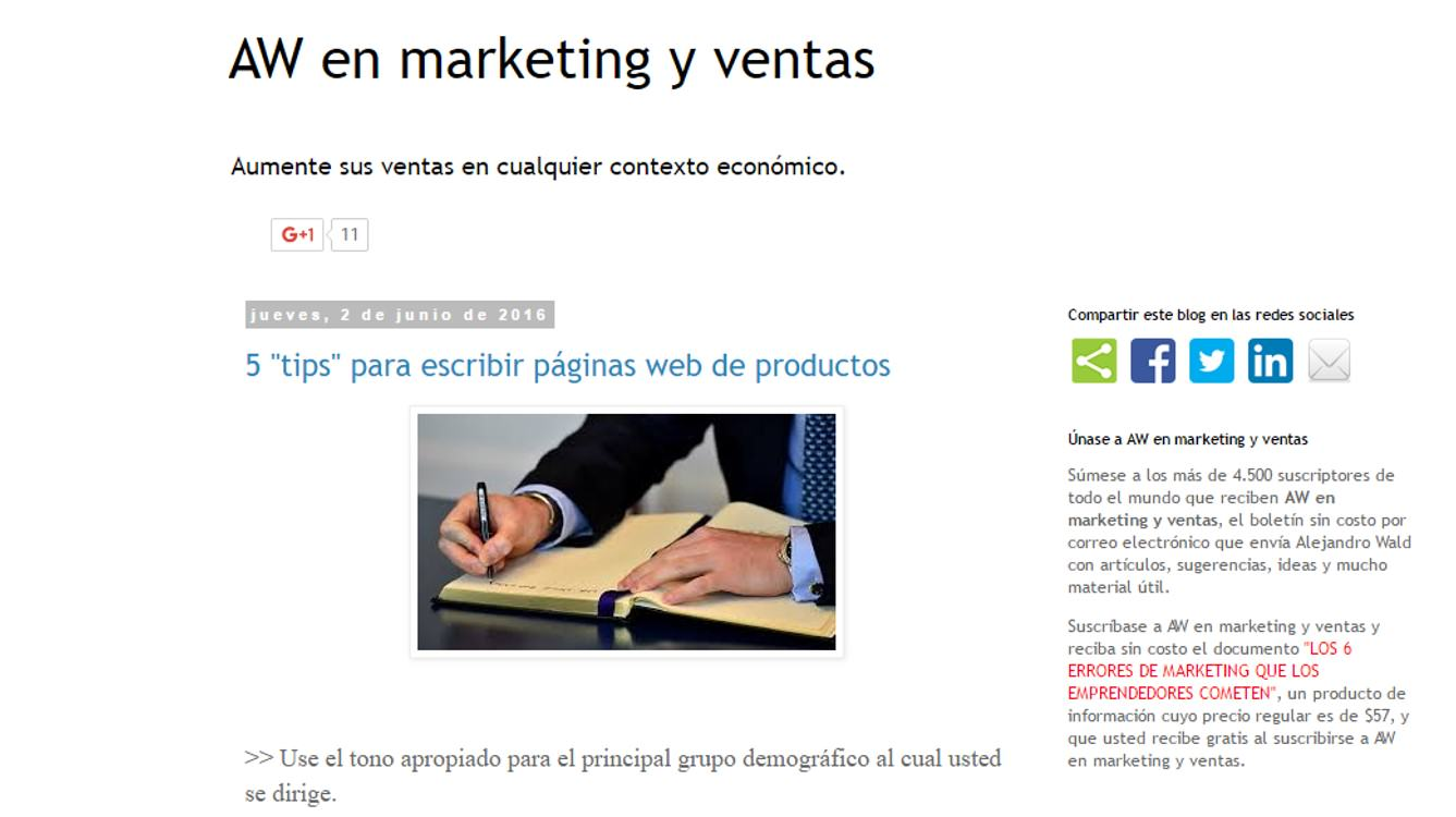 AW en marketing y ventas