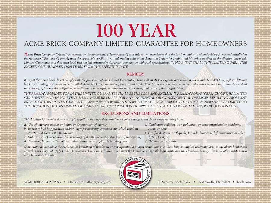 Acme brick garantia