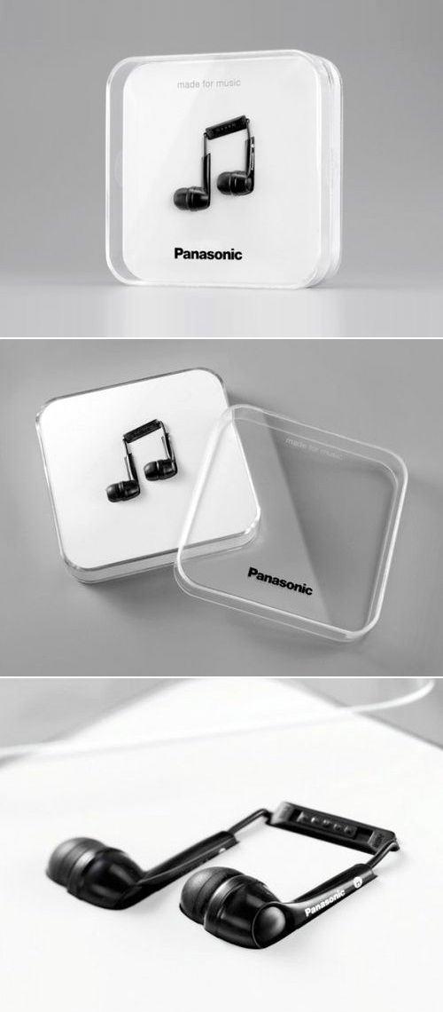 Panasonic - Empaque de audífonos como nota musical