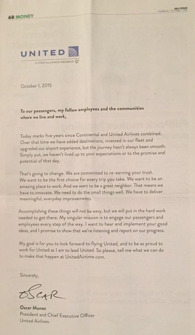 Carta de United Airlines en el periodico USA Today