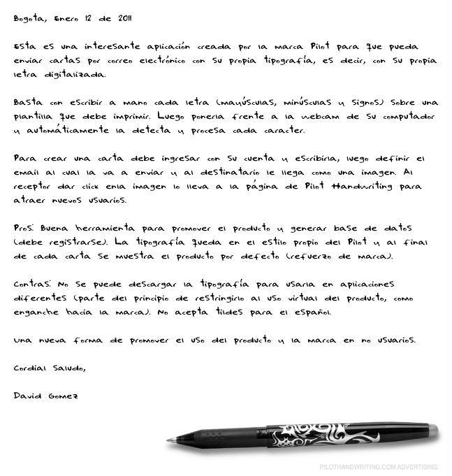 Carta en Pilot Handwriting