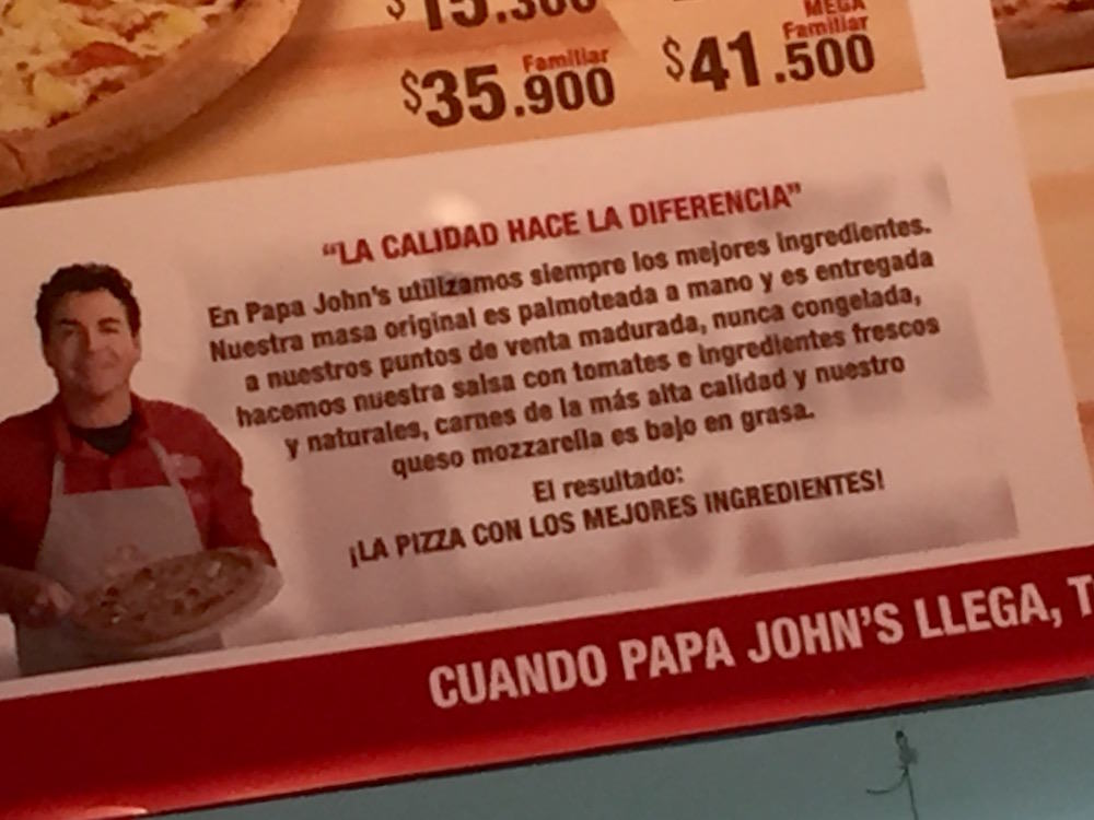 Diferencial Papa Johns Menu