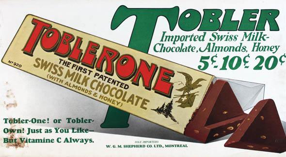 Toblrone, primer chocolate patentado
