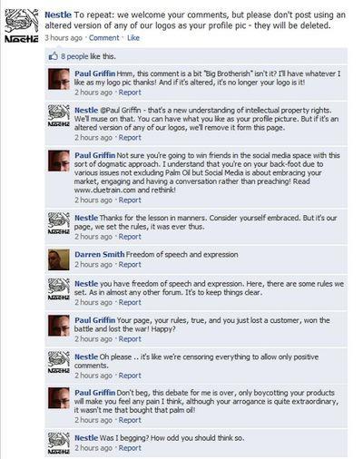 Error de Nestle en Facebook