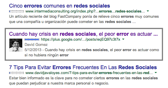 Errores redes sociales google perfil personal