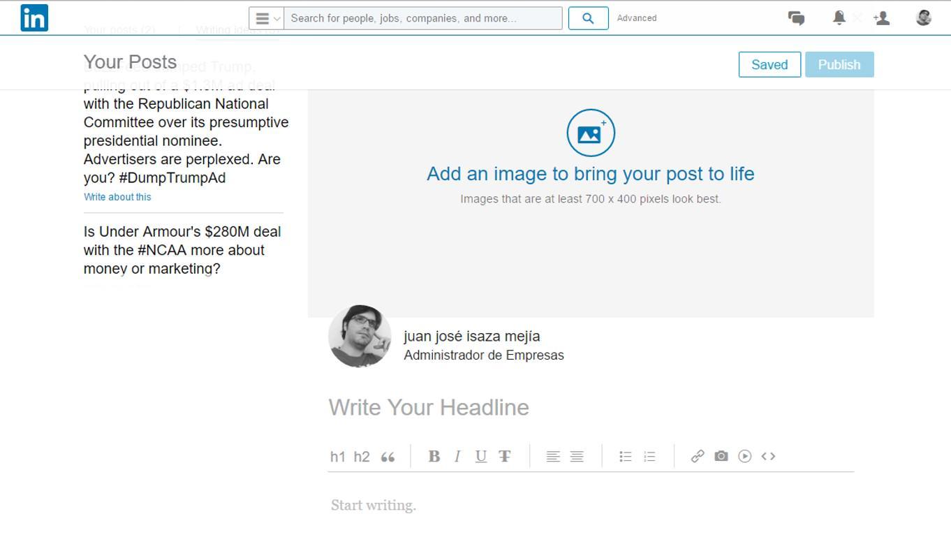 Editor de texto LinkedIn