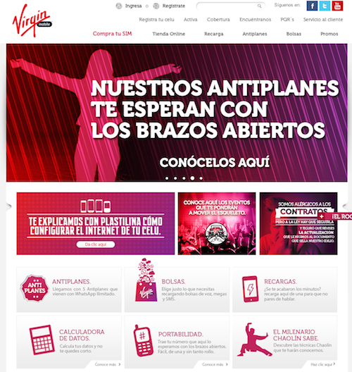 Pagina web Virgin Mobile