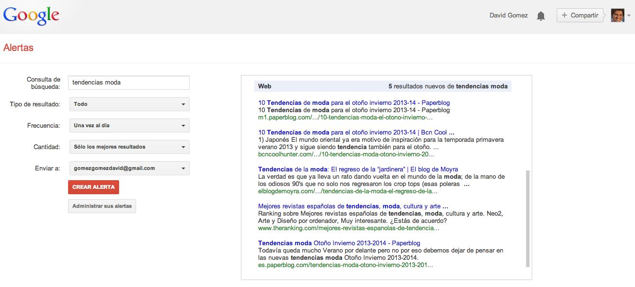 Programacion de Alertas de Google