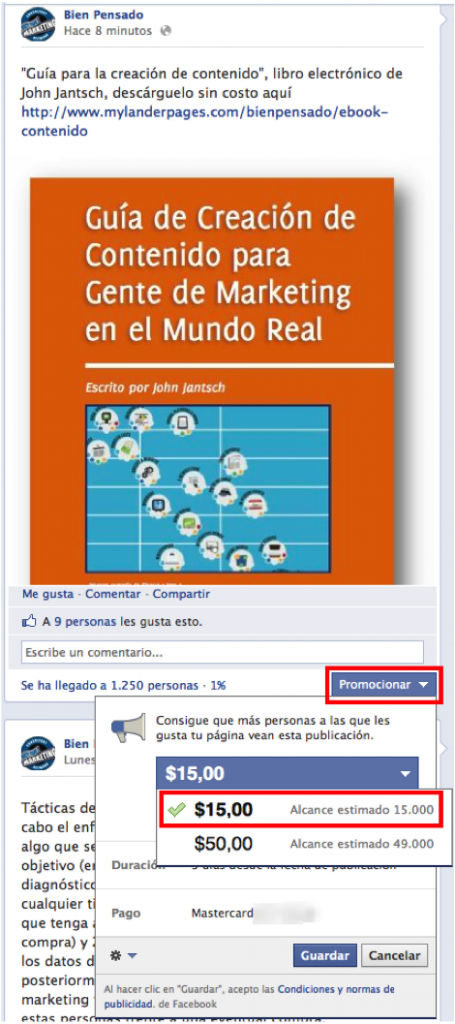 Opción de promocionar publicaciones en Facebook