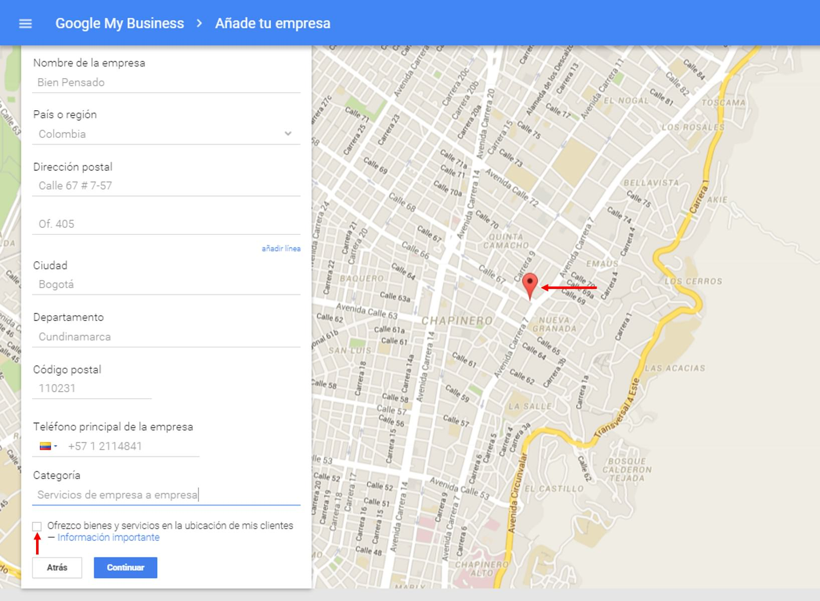 Registro de la empresa Google My Business
