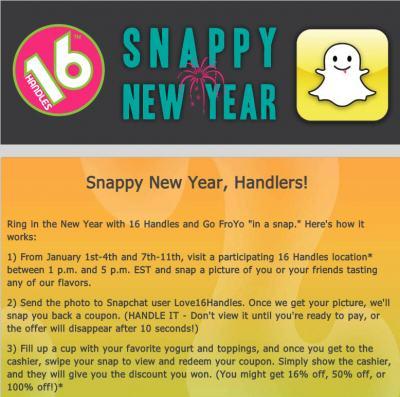 Promoción de cupones de 16 Handles en Snapchat