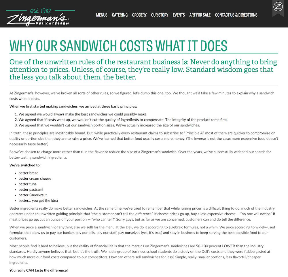 Zingermans Por que el sandwich cuesta lo que cuesta